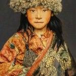 Gobelinbild Tibetan Child - Blaugrau