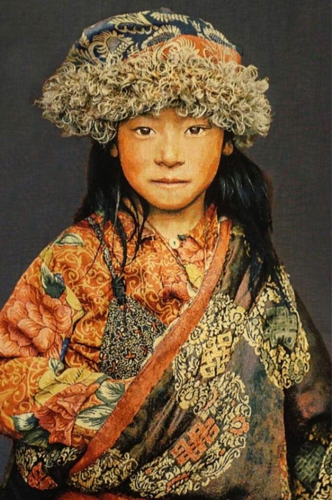 Gobelinbild-Tibetan-Child-Blaugrau