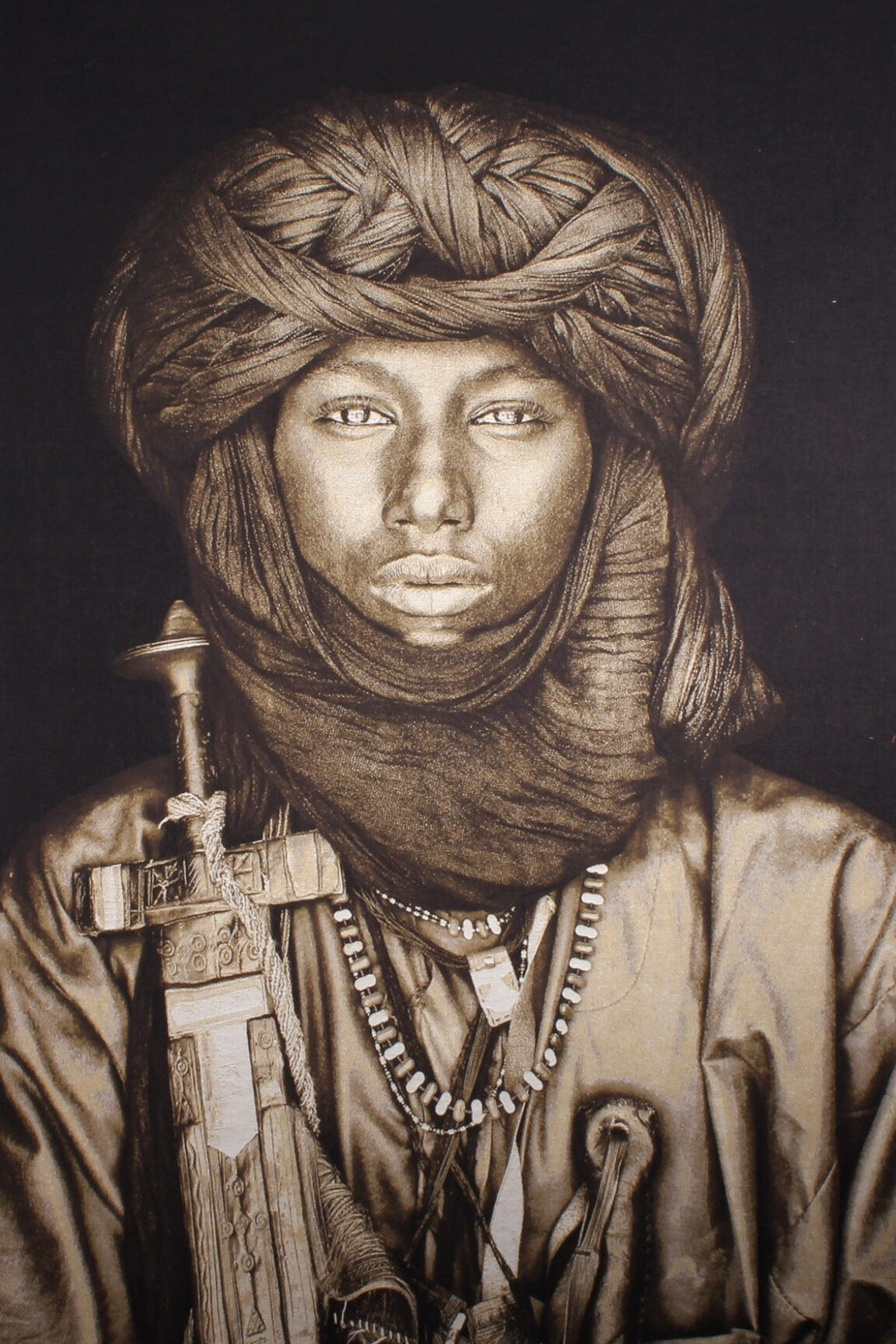 Gobelinbild-Dawo-Fulani-Tribe-Sepia