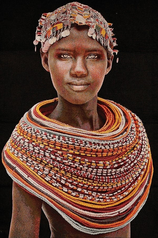 Gobelinbild-Samburu-Girl-Black