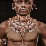 Gobelinbild Samburu Man - Black