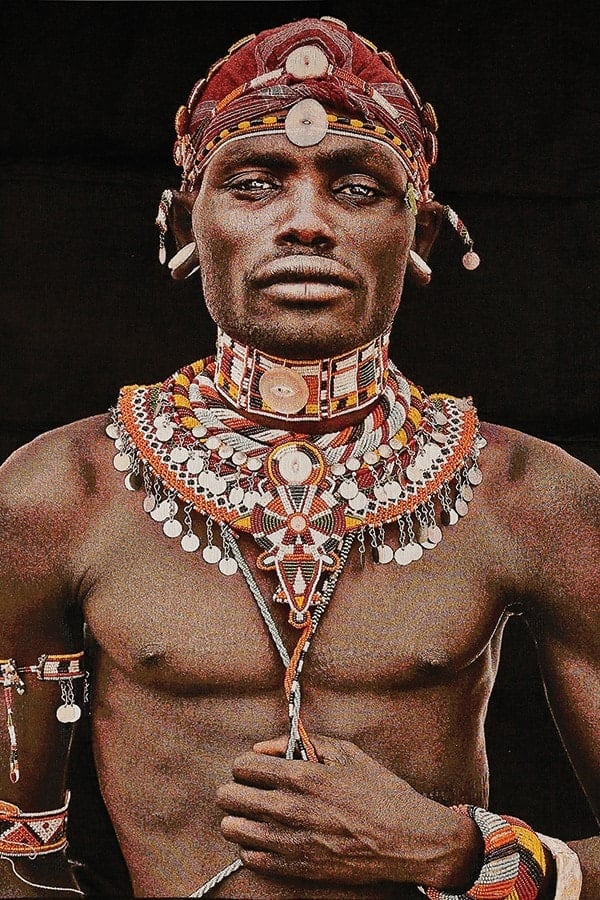 Gobelinbild-Samburu-Man-Black