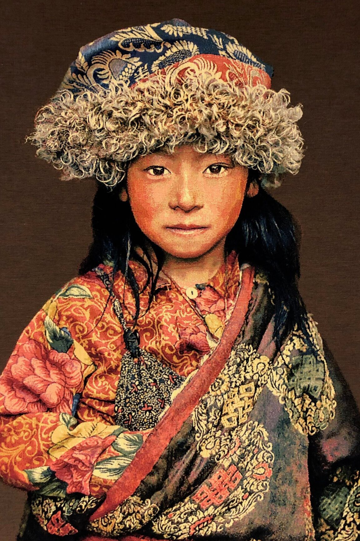 Gobelinbild-Tibetan-Child-Taupe