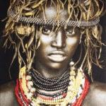 Gobelinbild Dassenech Girl - Black
