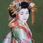 Gobelinbild Geisha - Green