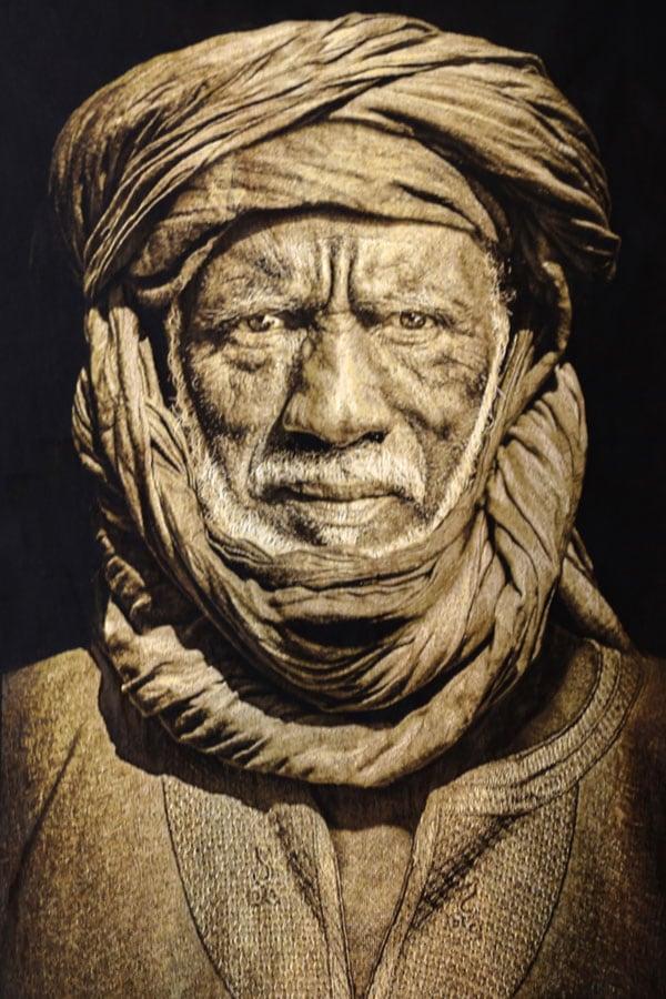 Gobelinbild-Tuareg-Man-Sepia